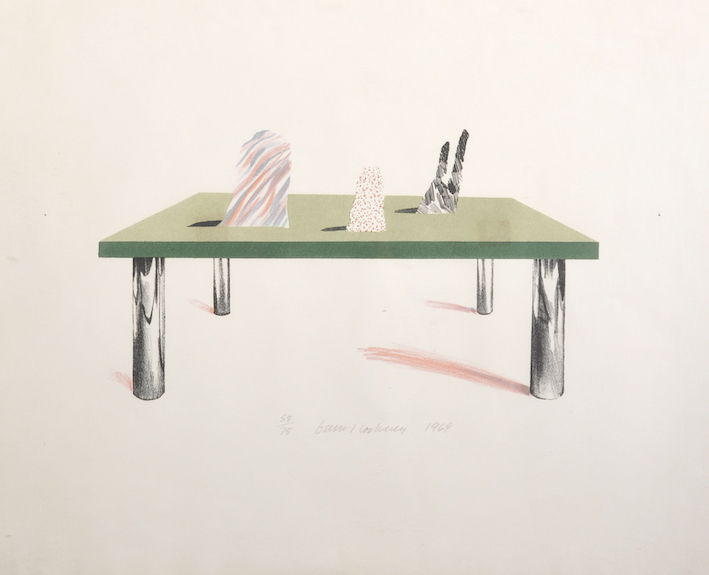 Glass Table with Objects Lithograph by David Hockney