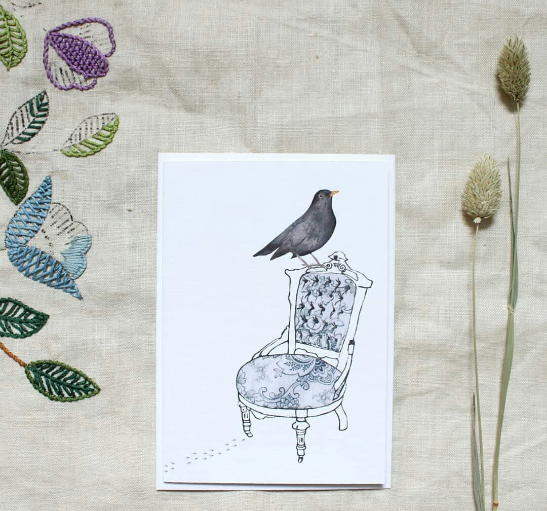 Blackbird Greetings Card by Donna Snowdon