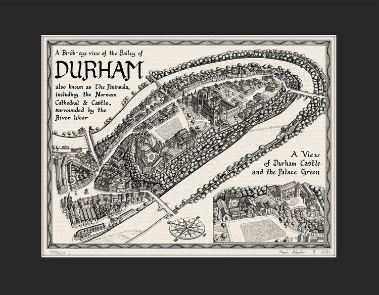 Durham Bailey Map Signed Limited Edition Print by Kevin Sheehan