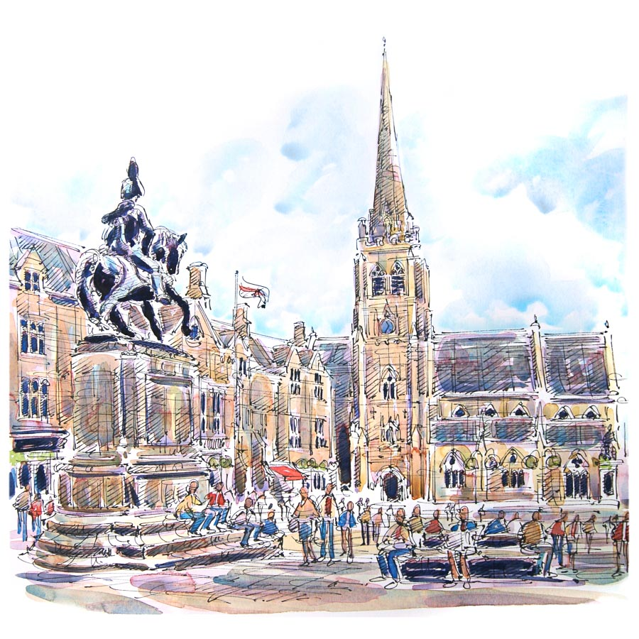 Durham Market Place Print by Richard Briggs