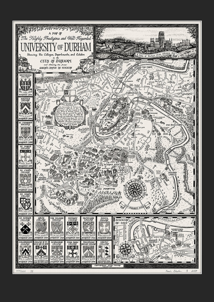 University Map of Durham Signed Limited Edition Print by Kevin Sheehan