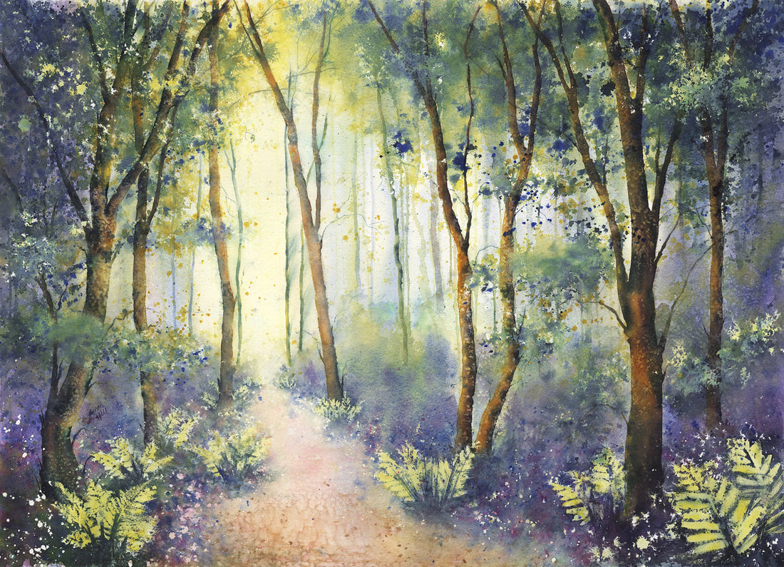 Ferns and Bluebells Print by Sarah Hill