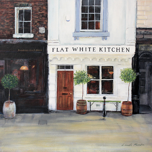 Flat White Kitchen Greetings Card by Linda Vine