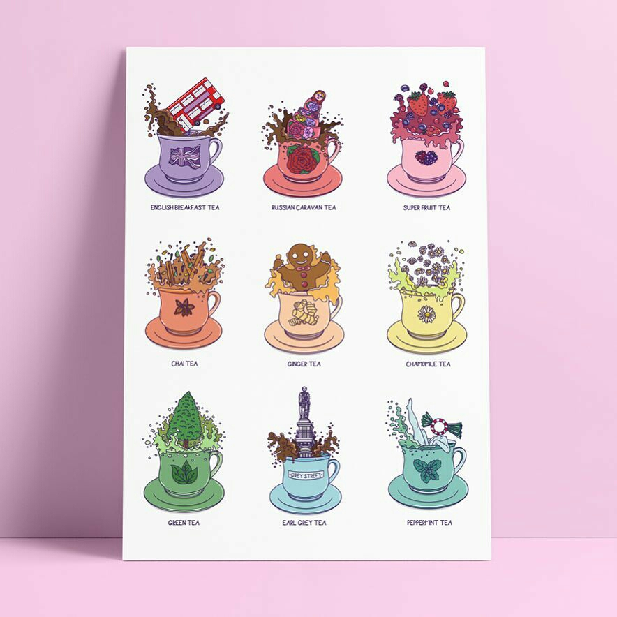 For the Love of Tea Print by Alice Clark