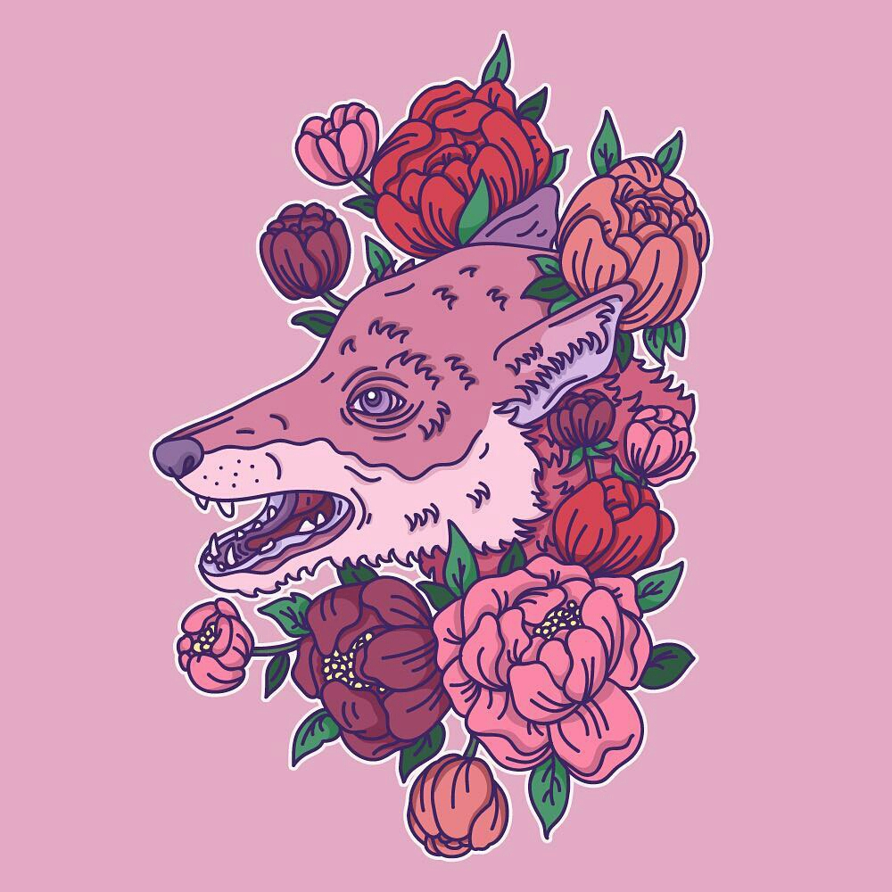 Fox and Peonies Print Detail by Alice Clark