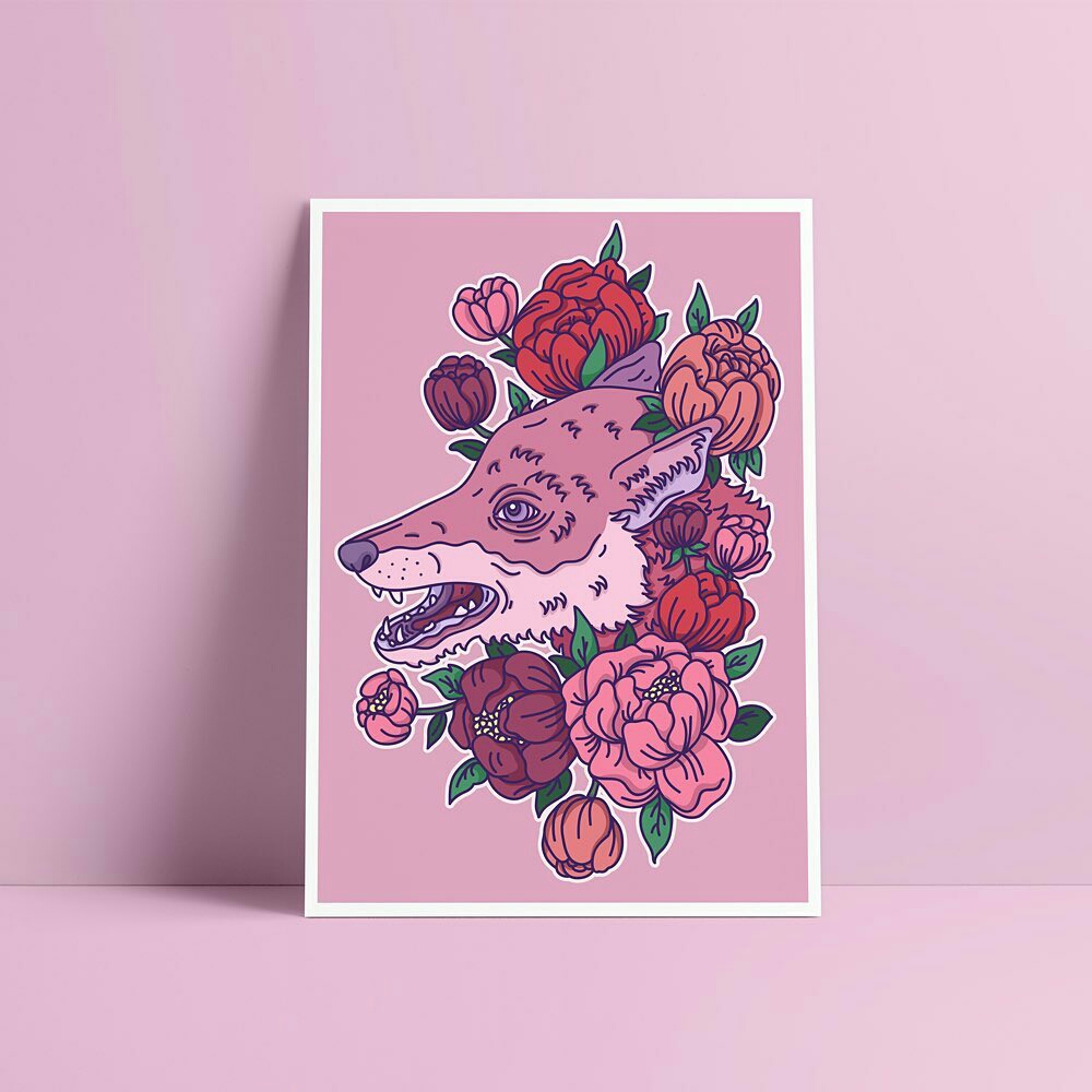 Fox and Peonies Print by Alice Clark