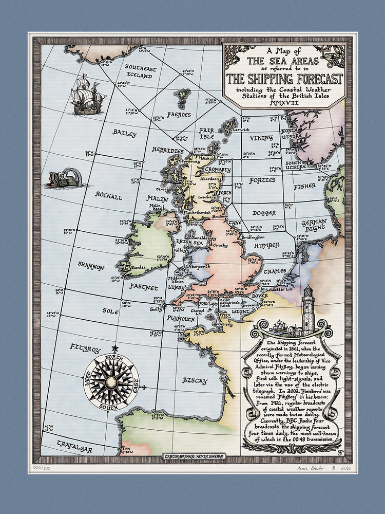 The Shipping Forecast Colour Map Print by Kevin Sheehan