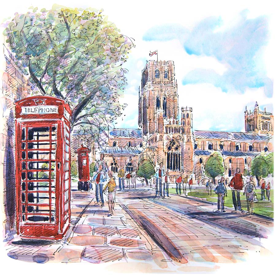 Towards Durham Cathedral Print by Richard Briggs
