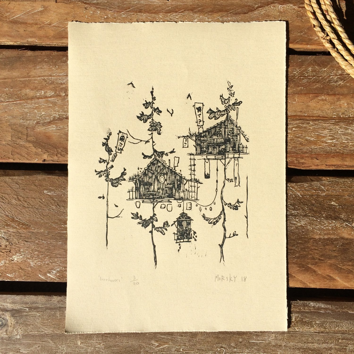 Tree House Signed Limited Edition Linocut Print by Morsky Studio